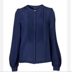 Topshop Navy Blue Pleat Front Shirt Beautiful blouse | gold buttons | sheer | great for year round Topshop Tops Blouses