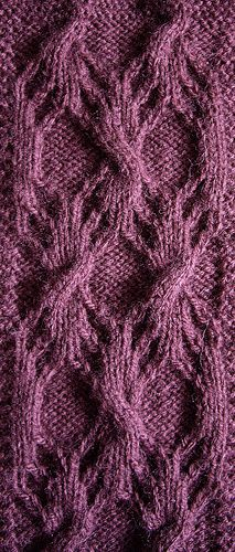 Woodgrain Pattern II - Stitch Count Repeat: Multiple of 14 stitches Book: Charted Knitting Designs – A Third - Treasury of Knitting Patterns - Page: 139 - Comments: Swatch is 2 repeats wide and 2 repeats high (with cable cross from 3rd repeat for balance). Piece didn't require so much blocking/stretching as woodgrain pattern I, because the pattern could already be easily seen. - knit by zeph