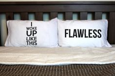 set of two pillow cases the I woke up like by theprintedsurface, $25.00@bulls16  I want these !