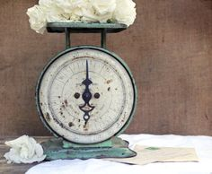 Gorgeous Vintage Scale... SOLD #vintage #green #scale #kitchen #old