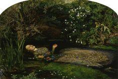 John Everett Millais' paint version of Ophelia from Shakespeare's Hamlet, similar to photograph from Melancholia