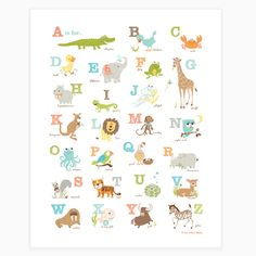 """Our most popular baby shower gift, featuring a collage of animals from A-Z, makes a perfect addition to a nursery or playroom Offset printed on heavyweight 100lb semigloss paper. Poster size is 16x20, which includes a 1.5"""" border. This item ships rolled in a mailing tube. Printed in the USA"""
