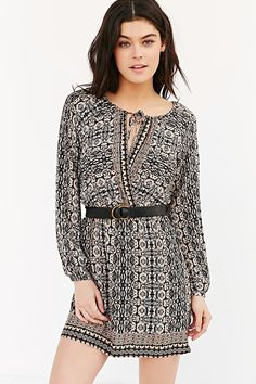 COPE Long-Sleeve Printed Tunic Dress - Urban Outfitters