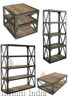 vintage industrial bookshelves made of iron and reclaimed wood.