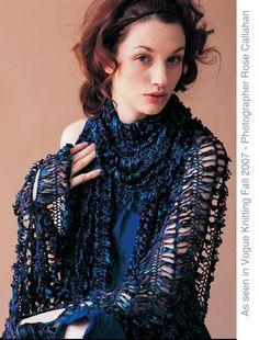 HairPin Lace Shawl by Jennifer Hansen [Vogue Knitting Free Patterns Website] Tunisian Crochet, Crochet Shawl, Crochet Yarn, Crochet Scarves, Crochet Clothes, Lace Patterns, Hairpin Lace Crochet, Crocheted Lace, Models