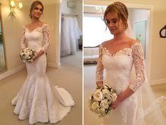 Vestido de noiva renda decote ombro a ombro ( Vestido: Wanda Borges )