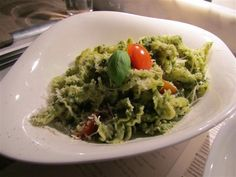 Campenelle pasta with pesto sauce at Vapiano in Great Portland Street, London