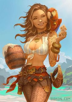 Sunny and Coco the Red - by Bob Kehl - Your Daily Dose of Amazing beautiful Creativity and Digital Art - Fantasy Characters: Archers Assassins Astronauts Boners Knights Lovers Mythology Nobles Scholars Soldiers Warriors Witches Wizards Fantasy Character Design, Character Drawing, Character Concept, Character Inspiration, Dnd Characters, Fantasy Characters, Female Characters, Pirate Art, Pirate Woman