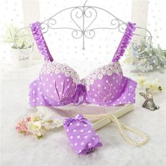 High quality women push up bra sets sexy Lovely lace wave point bra set fresh girl underwear lingerie sets bra + panties YPH-7