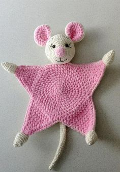 Items similar to Cuddle and play mouse crochet baby blanket, props for newborns on Etsy Kuscheln Sie Decke handgemachte Tröster Spielzeug Kinder Crochet Cow, Crochet Lovey, Newborn Crochet, Crochet Blanket Patterns, Baby Blanket Crochet, Baby Newborn, Knitting Patterns, Knitting For Kids, Baby Knitting