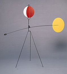"Alexander Calder | Red and Yellow Vane, 1934 Sheet metal, wire, lead, and paint 69"" x 80"" x 28"" Calder Foundation, New York"