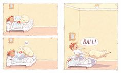 An interior spread from 'Ball' written & illustrated by Mary Sullivan.