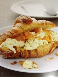 Scrambled Eggs and Salmon on Croissants #jumpstartyourmorning #womenshealthmag #americaneggboard