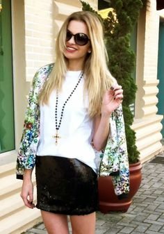 my little way: MEU LOOK | FLORAL BOMBER JACKET