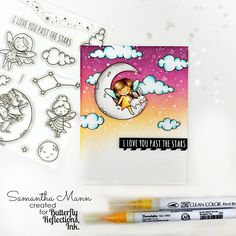 Today I'm sharing a card with the sweeeeeetest new images from Neat and Tangled! I am in LOVE with the To The Sta. Neat And Tangled, Perfect Together, Am In Love, Distress Ink, Baby Cards, Colour Images, Make You Smile, Dream Big, Card Stock