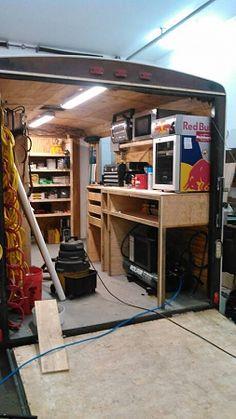 Job Site Trailers, Show Off Your Set Ups! - Page 112 - Tools & Equipment Trailer Shelving, Van Shelving, Trailer Storage, Work Trailer, Trailer Build, Van Storage, Tool Storage, Aluminum Utility Trailer, Welding Trailer