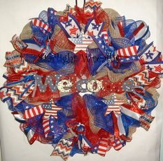 Red White Blue Welcome Burlap and Mesh by StarlightWreaths on Etsy