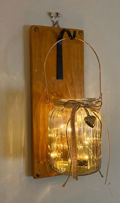 Pair of Handmade wall hangers with glass jars sconces rustic wooden wall mounted candle holders Wall Mounted Candle Holders, Wooden Candle Holders, Hand Painted Furniture, Painted Wood, Cafe Interior Design, Handmade Wooden, Handmade Candles, Mason Jar Lamp, Glass Jars