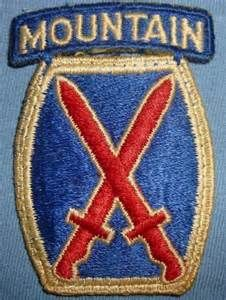 WWII 10th Mountain Division Patch