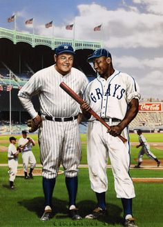 Baseball Art - Babe Ruth and Josh Gibson by Bill Purdom. The great-grandsons of both Ruth and Gibson had the piece commissioned. If only the times that they played allowed that they do so together. Baseball history would be so different. Baseball Painting, Baseball Boys, Baseball Players, Baseball Field, Baseball Stuff, Baseball Sunglasses, Negro League Baseball, Baseball Classic, Baseball Equipment