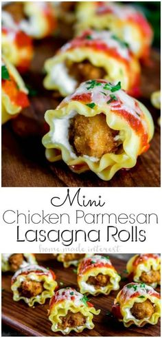 Mini Chicken Lasagne Rolls | This easy appetizer is the combination of two amazing Italian comfort foods, lasagna and chicken Parmesan. These mini lasanga rolls are an easy appetizer filled with chicken and ricotta cheese and topped with a delicious sauce and mozzarella cheese. It is a bite-size appetizer recipe that is a great Christmas appetizer or New Year's Eve appetizer. AD #newyearseve #appetizer #lasagna #chicken