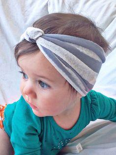 Gray & white striped baby turban by turbansfortots on Etsy