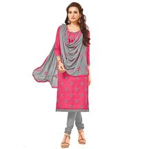 Saara Trendy  Pink And Grey Embroidered Dress Material With Dupatta