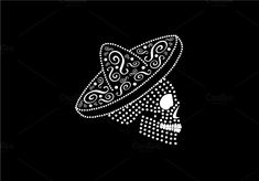 Mexican skull icon side on by TeaGraphicDesign on Sugar Skull Costume, Sugar Skull Halloween, Cool Halloween Makeup, Sugar Skull Makeup, Sugar Skull Art, Halloween Costumes, Halloween Halloween, Mexican Skull Tattoos, Mexican Skulls