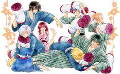 Hak, Kija, Yona, Zeno, Jae-ha e Shin-ah, de Akatsuki no Yona Arte por: Kusanagi Mizuho