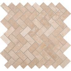 Travertine Herringbone 12 Inch x 12 Inch x 10mm Honed Travertine Mesh-mounted Mosaic Tile Home Depot Canada