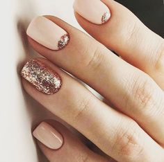 Nude beige glitter nails