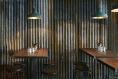 Barnyard restaurant in London designed by Brinkworth for Ollie Dabbous. http://www.brinkworth.co.uk/projects/barnyard #corrugated #metal #interiordesign