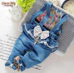 Nice Free shipping spring and autumn Baby girls bow denim bib pants , infant jumpsuit ,kids - $32.56 - Buy it Now!