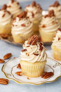 The perfect holiday cupcake, moist butter pecan cupcakes are topped with fluffy brown sugar cream cheese frosting and loaded with toasted pecans! Pecan Pie Cupcakes, Pecan Pie Cheesecake, Cupcake Cookies, Pecan Recipes, Baking Recipes, Homemade Cupcake Recipes, Sweet Dinner Rolls, White Chocolate Cupcakes, Thanksgiving Cupcakes