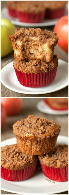 These amazingly moist and delicious cinnamon apple muffins are made healthier with 100% whole grains, olive oil, and less sugar than a typical muffin! #wholegrain