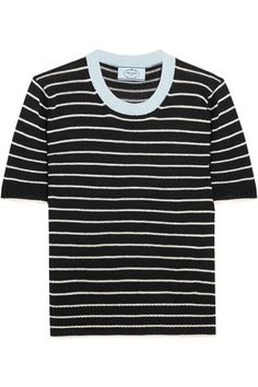 Prada - Striped Cotton, Cashmere And Silk-blend Sweater - Black - IT44