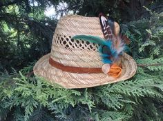 Summer hat feather edition with leather strap gamzegedesignstudio.com