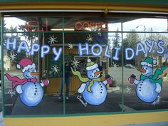 "christmas window painting | ... holiday window painting (up to 72"" x 48"") for your business or home"