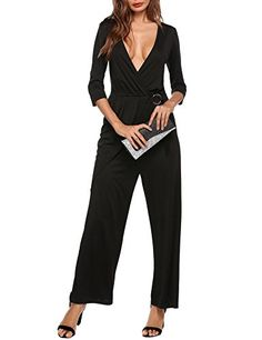 0861c8987716 Zeela Womens Sexy Wrap V Neck 34 Sleeve Long Casual Wide Leg Rompers  Jumpsuit