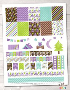 Purple Camping Printable Planner Stickers Weekly Kit – Instant Download PDF for your Erin Condren Life Planner