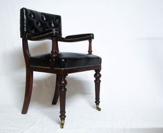 Late Victorian Mahogany & Leather Open Armed Desk Chair by Bartholomew & Fletcher, London