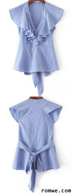 Shop Blue Striped Ruffle Trim Blouse With Self Tie at ROMWE, discover more fashion styles online. Trendy Fashion, Kids Fashion, Womens Fashion, Fashion Design, Kids Outfits, Casual Outfits, Fashion Outfits, Sewing Clothes Women, Blouse Designs