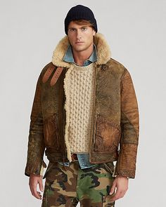 Komplette Outfits, Winter Outfits, Casual Outfits, Gentleman Mode, Gentleman Style, Mens Winter Sweaters, Men Sweater, Ralph Lauren Leather Jacket, Bomber Coat