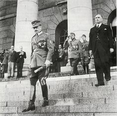 Marshal Mannerheim leaves the building of the Finnish Parliament after his election as President on August 4, 1944.