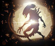 Alien xenomorph by Ross Burt Art Alien, Alien Film, Xenomorph, Alien Ripley, Giger Art, Predator Alien, Fantasy Figures, Aliens Movie, Horror Monsters