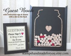 Wedding Guest Book Mason Jar with Drop In Hearts  Wood frame and Hearts - Pick your  colors alternative Guest book 155 hearts