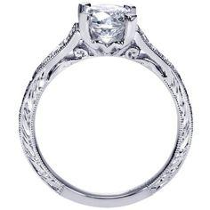18K White Gold Pave Set Diamond Engagement Ring
