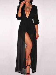 High Slit Half Turnup Sleeve Chiffon Empire Waist Deep V Neck Dress Maxi Dress on buytrends.com