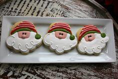 Santa Head Cookies using Cupcake Cookie Cutter