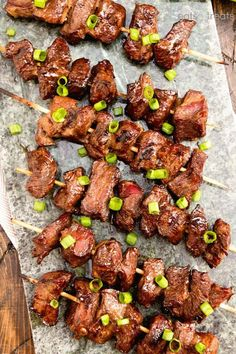 Asian Steak Kebabs ~ Tender, Juicy Steak Bites in a Delicious Asian Marinade! The Perfect Quick & Easy Recipe to Fire Up the Grill With! for more easy, family, friendly recipes and stress-free dinner time! Steak Skewers, Kebabs On The Grill, Kabobs, Kabob Recipes, Steak Recipes, Grilling Recipes, Seared Salmon Recipes, Lamb Kebabs, Tomato Cream Sauces